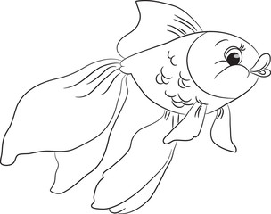 Outlined cute cartoon goldfish. Vector illustration.