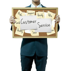 Business man holding board on the background, Customer Service c