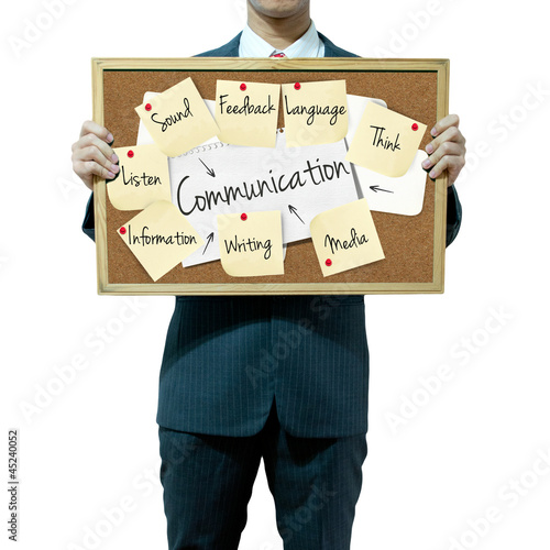 Business man holding board on the background, Communication conc