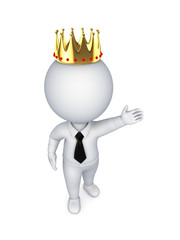 3d small person in a golden crown.