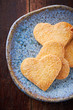 Butter cookies with sugar on a ceramic plate