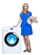 young woman near the new washing machine