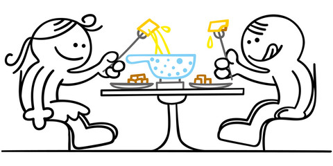 figur beim fondueessen