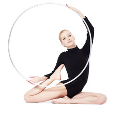 blonde gymnast with hula hoop
