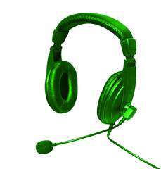 headphones ana microphone open green