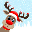 Rudolph 7 Hats Winter Forest Snowfall Diagonal