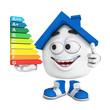 Kleines 3D Haus Blau - Top Energieverbrauch