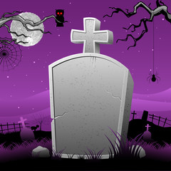 Tomb Stone in Halloween Night