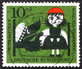 Postage stamp Germany 1960 Little Red Riding Hood and the Wolf