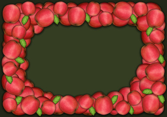 Autumn and thanksgiving apple frame on green background