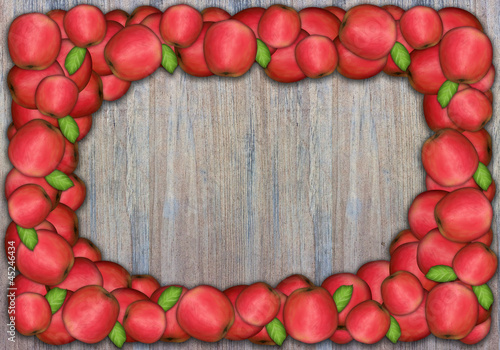 Apple frame on wooden wall for thanksgiving