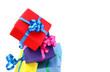 Geschenkpakete mit buunten Schleifen