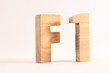 F1 text animation with wooden letters version 2