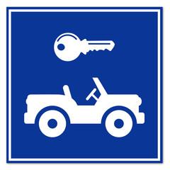 Señal alquiler de jeep