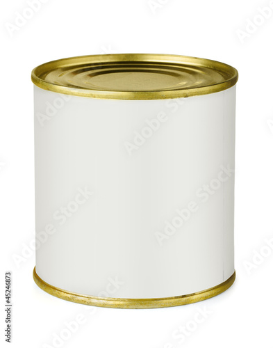 Tin can with blank white label