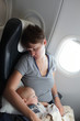 Woman with baby on the flight