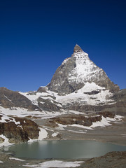 Matterhorn the Switzerland symbol and a cute little lake
