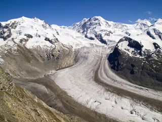 Gorner glacier of the Swiss Alps