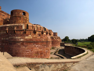 The Red fort of Agra in Uttar Pradesh, India.