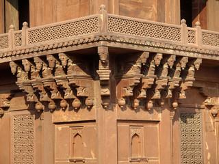 Sandstone carving at Diwan-i-khas in Fatehpur Sikri