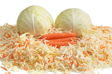 White Cabbage and Carrots. Сhopping.