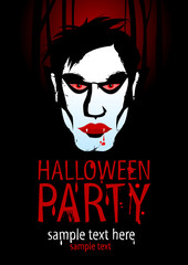 Halloween Party Design template with vampire.