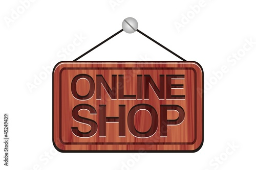 wooden online shop sign