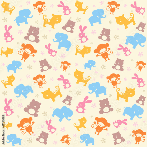 Child seamless pattern with cute animals.