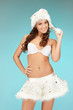 cheerful santa helper girl in lingerie