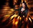Rock star. Sexy woman singing.
