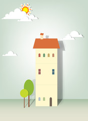 illustration of buildings, trees, clouds and sun