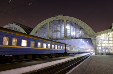 The train station at night in Lvov, Ukraine