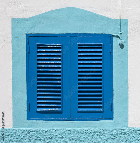 Blue colonial window on a wall, Gran Canaria