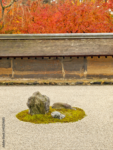 Famous rock garden of Ryoan-ji Temple, Kyoto