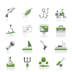 Fishing industry icons - vector icon set