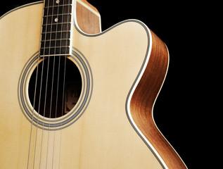 close up Guitar on black background