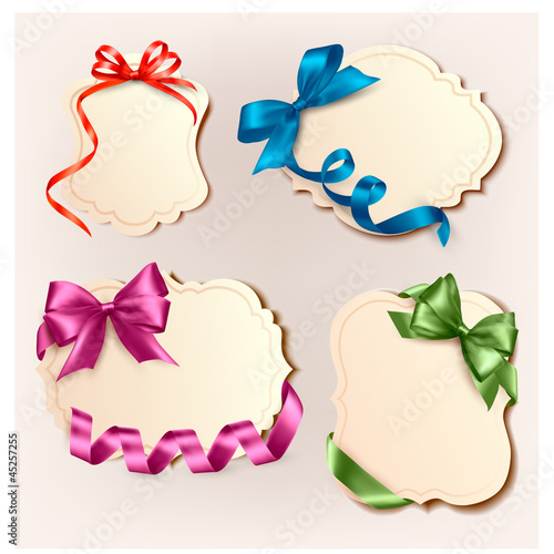 Set of beautiful cards with colorful. gift bows