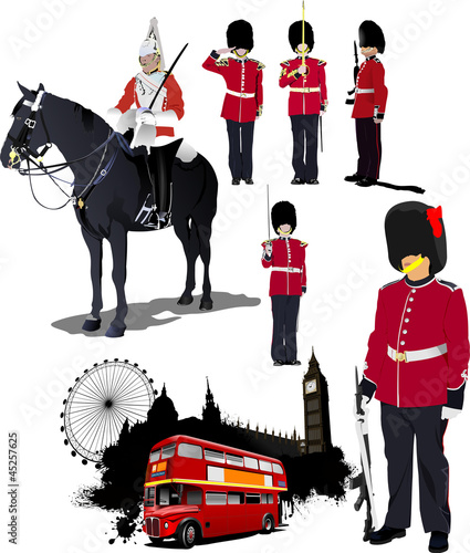 Big collection of London image. Vector illustration