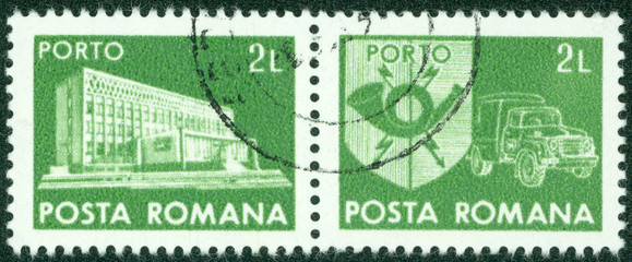 stamp printed in Romania shows Central Post Office building