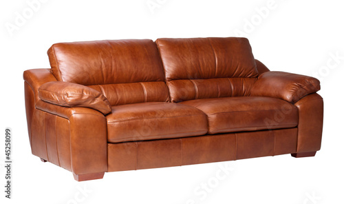 Genuine leather sofa isolates on white background