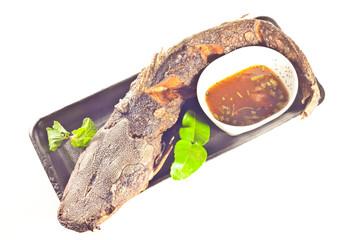 Black sticky rice with fry pork