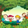 kids in a beautiful nature