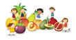 kids and fruits