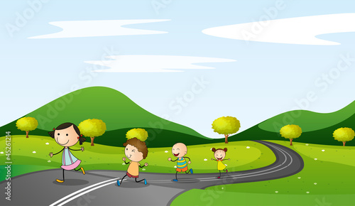 kids and road