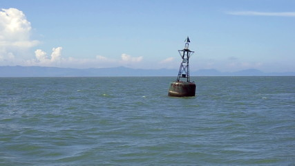 Moving shot for passing an ocean navigation buoy