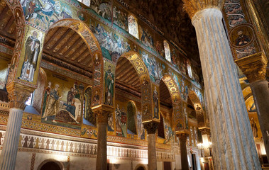 The decorated arches in the Palatine Chapel of Palermo in Sicily