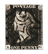 Victorian GB Penny Black mail stamp on white, circa 1840