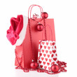 shopping bag and christmas decoration