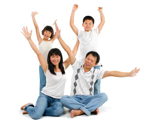 Asian family arms up