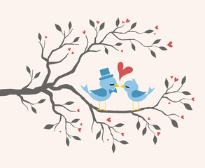 Kissing Birds in love at branch